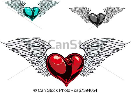 450x321 Retro Color Heart Tattoo. Retro Color Heart With Wings For Tattoo