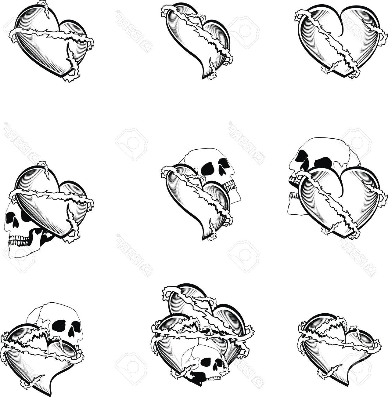 1272x1300 Top Heart Tattoo Skull In Vector Format Very Easy To Edit Cdr