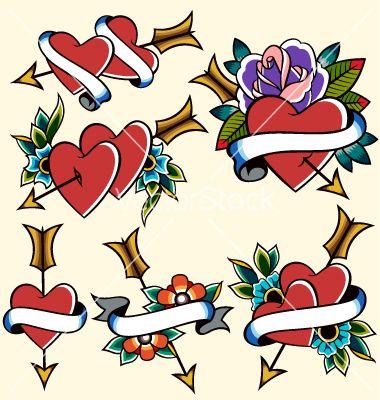 380x400 Classic Vintage Heart Tattoo Vector Art