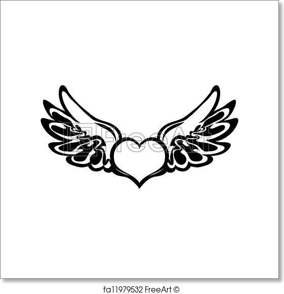 561x581 Free Art Print Of Heart Tattoo. Vector. Heart Tattoo Isolated On