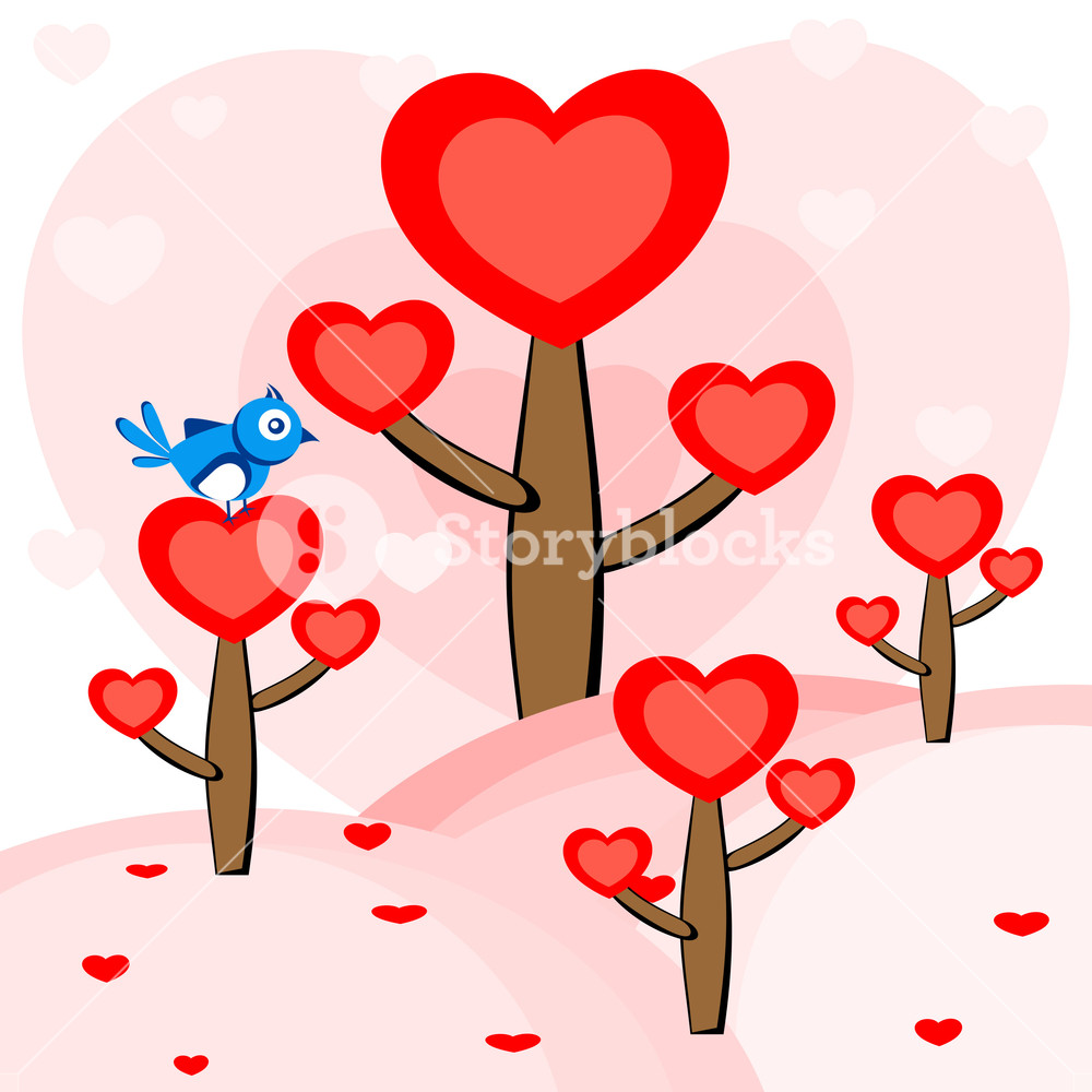1000x1000 A Bird Sitting On The Heart Tree. Vector. Royalty Free Stock Image