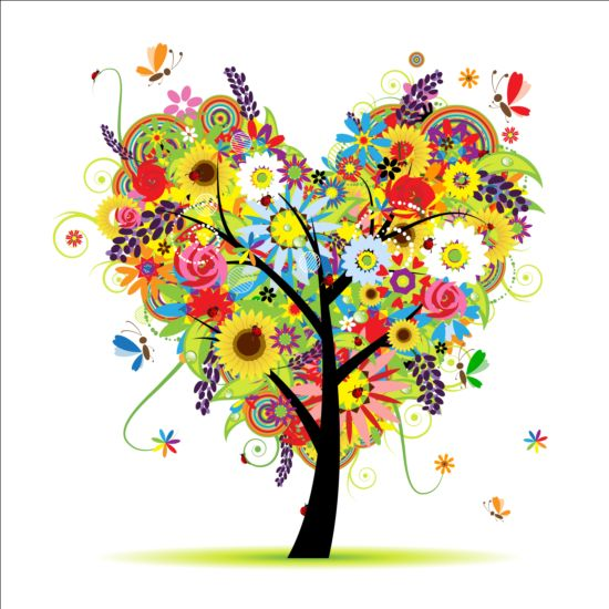 550x550 Floral Heart Tree Vector Free Download