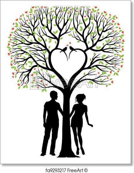450x580 Free Art Print Of Couple With Heart Tree, Vector . Heart Tree With