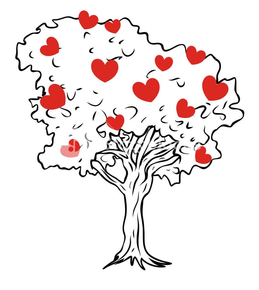 892x1000 Hearts Tree Vector Royalty Free Stock Image