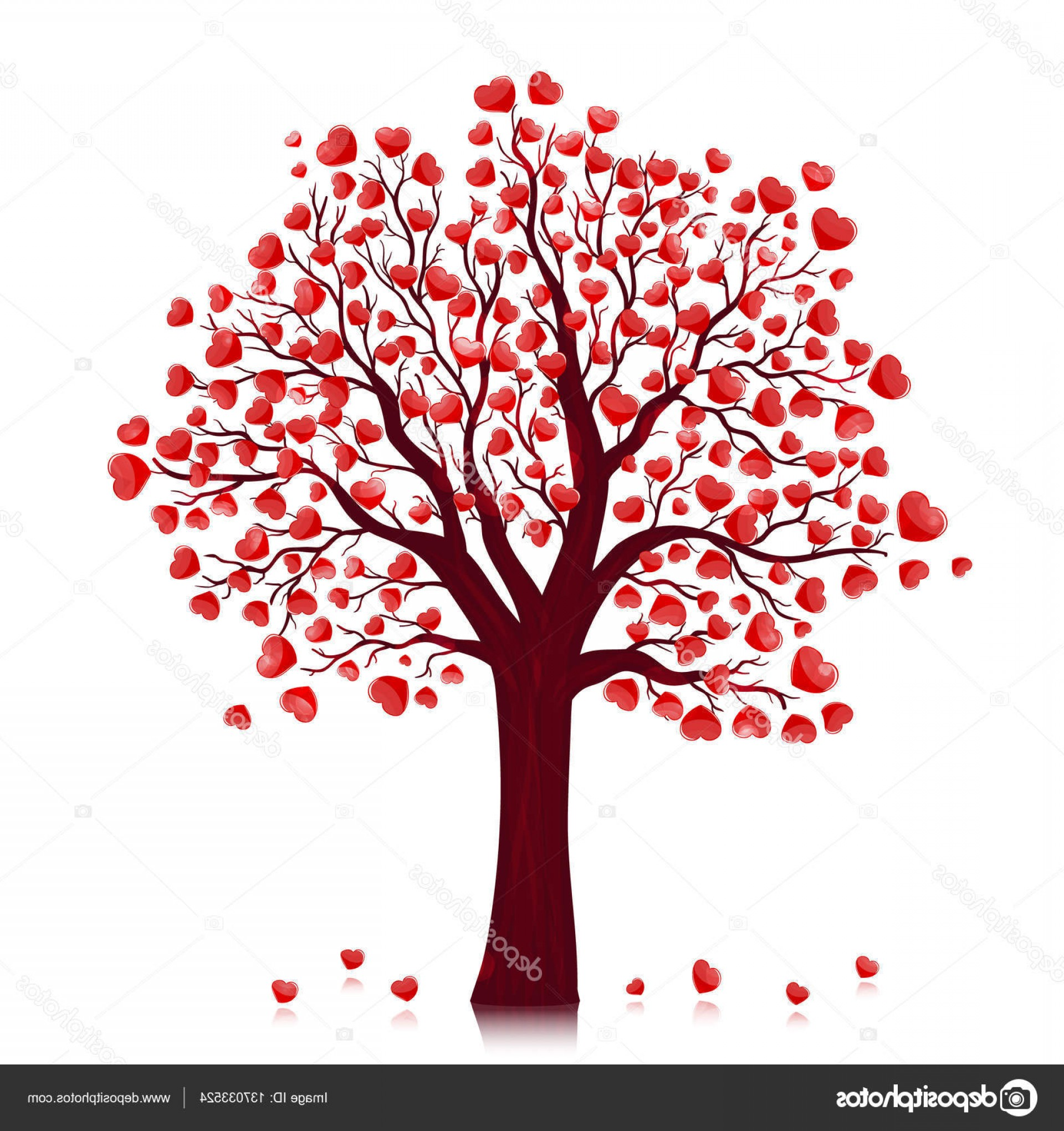 1920x2040 Stock Illustration Red Hearts Tree Vector Background Arenawp