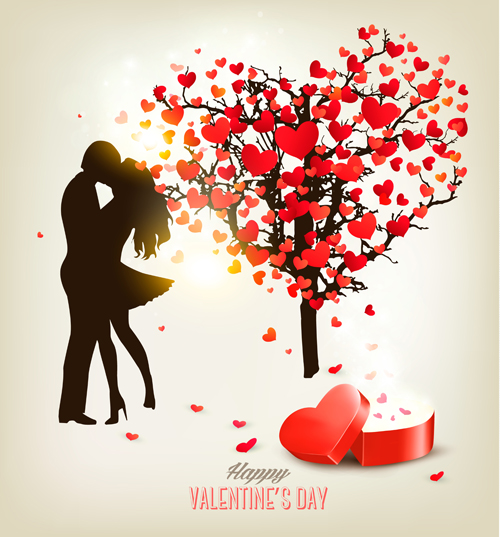 500x537 Valentine Heart Tree With Gift Box Vector Material 03 Free Download