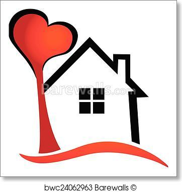 362x382 Art Print Of House And Heart Tree Vector Logo Barewalls Posters