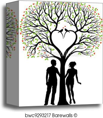 342x390 Canvas Print Of Couple With Heart Tree, Vector Barewalls Posters