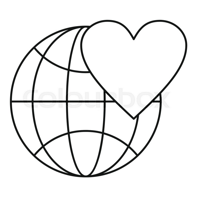 800x800 Earth World Globe With Heart Icon. Outline Illustration Of Globe
