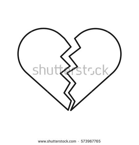 450x470 Collection Of Broken Heart Outline Clipart High Quality