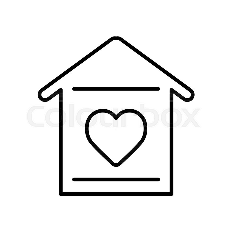 800x800 House With Heart Icon. Simple Outline House With Heart Vector Icon