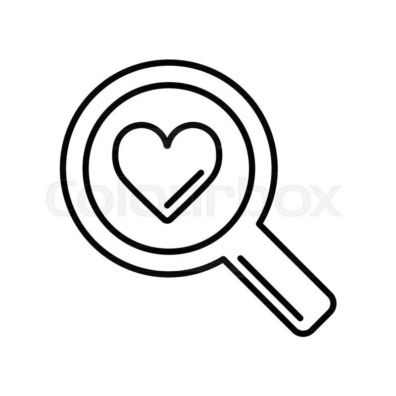 800x800 Magnifier With Heart Vector Icon, Search Icon, Flat Design Best
