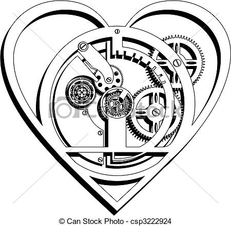 450x442 Mechanical Heart Outline. Mechanical Heart Icon.
