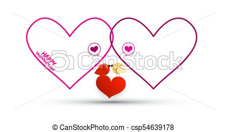 450x263 Outline Hearts With Birds And Red Heart. Vector Valentines Day