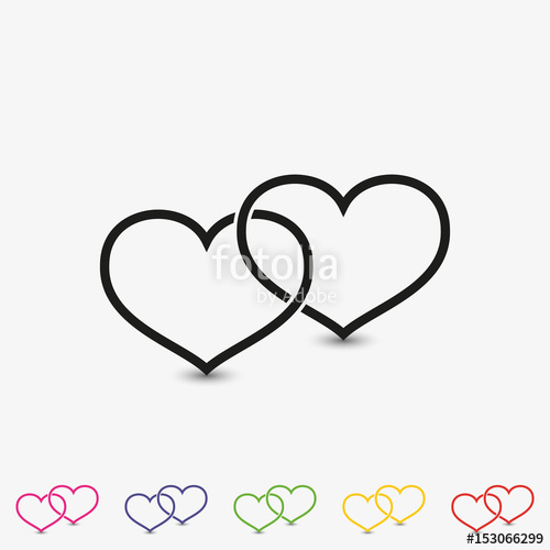 500x500 Set Of Two Outline Linked Hearts Vector Icon. Love Symbol Flat