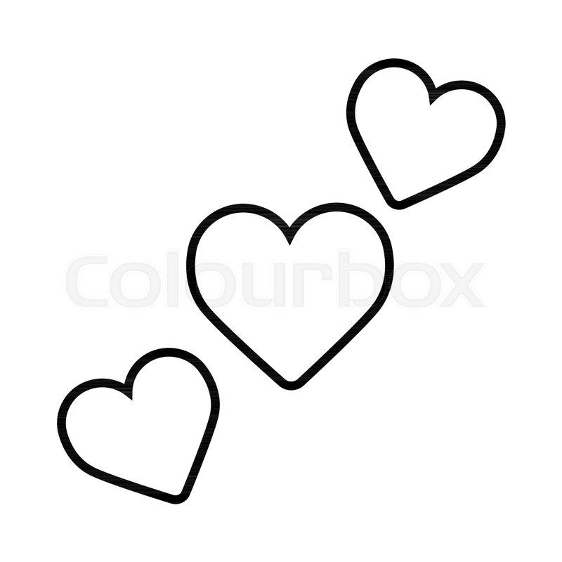 800x800 Three Hearts Vector Icon. Valentine Day Concept. Flat Line Simple