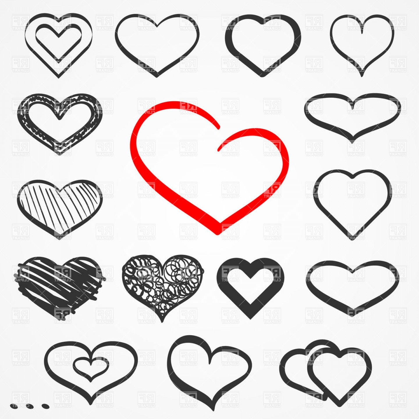 1440x1440 Abstract Sketch Hand Drawn Hearts Vector Clipart Arenawp