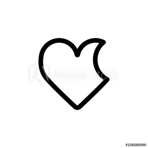 500x500 Bitten Heart Vector Icon. Black And White Love Illustration