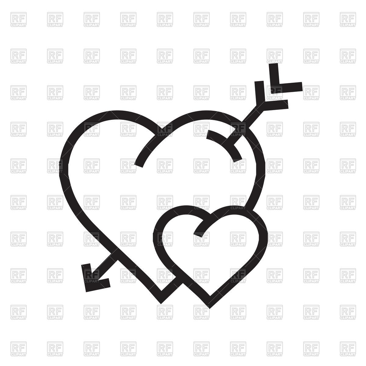 1200x1200 Cartoon Hearts With Arrow Icon Outline Vector Image Vector