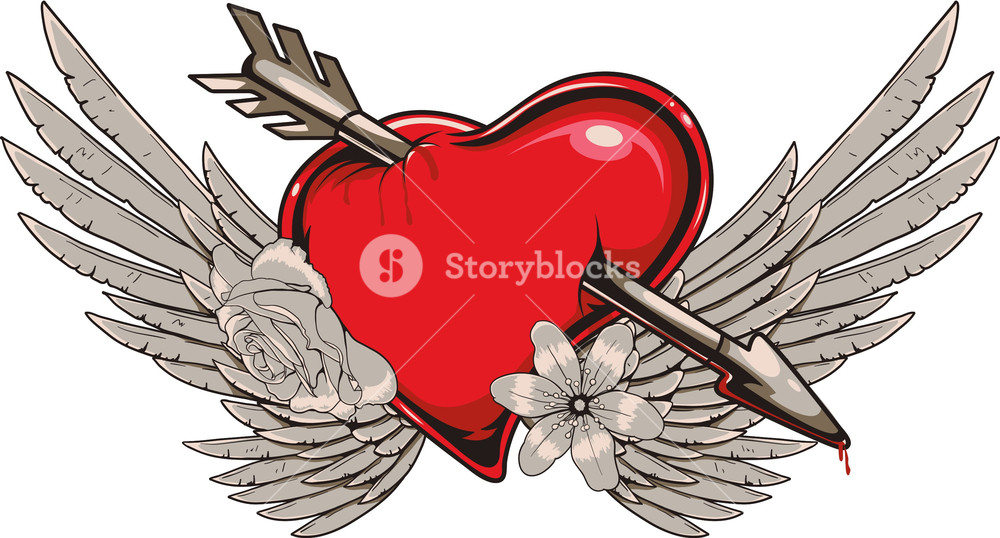 1000x538 Heart With Wings Vector T Shirt Design Royalty Free Stock Image