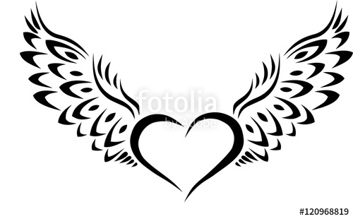 500x310 Heart With Wings Tribal Tattoo Stock Image And Royalty Free