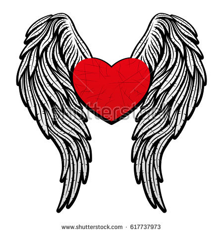450x470 Hearts With Wings Heart Wings Stock Vector Shutterstock To Print