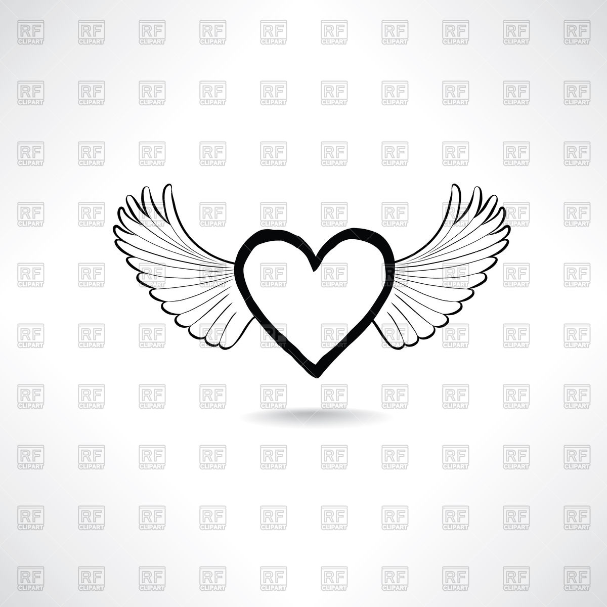 1200x1200 Love Heart With Wings Vector Image Vector Artwork Of Signs