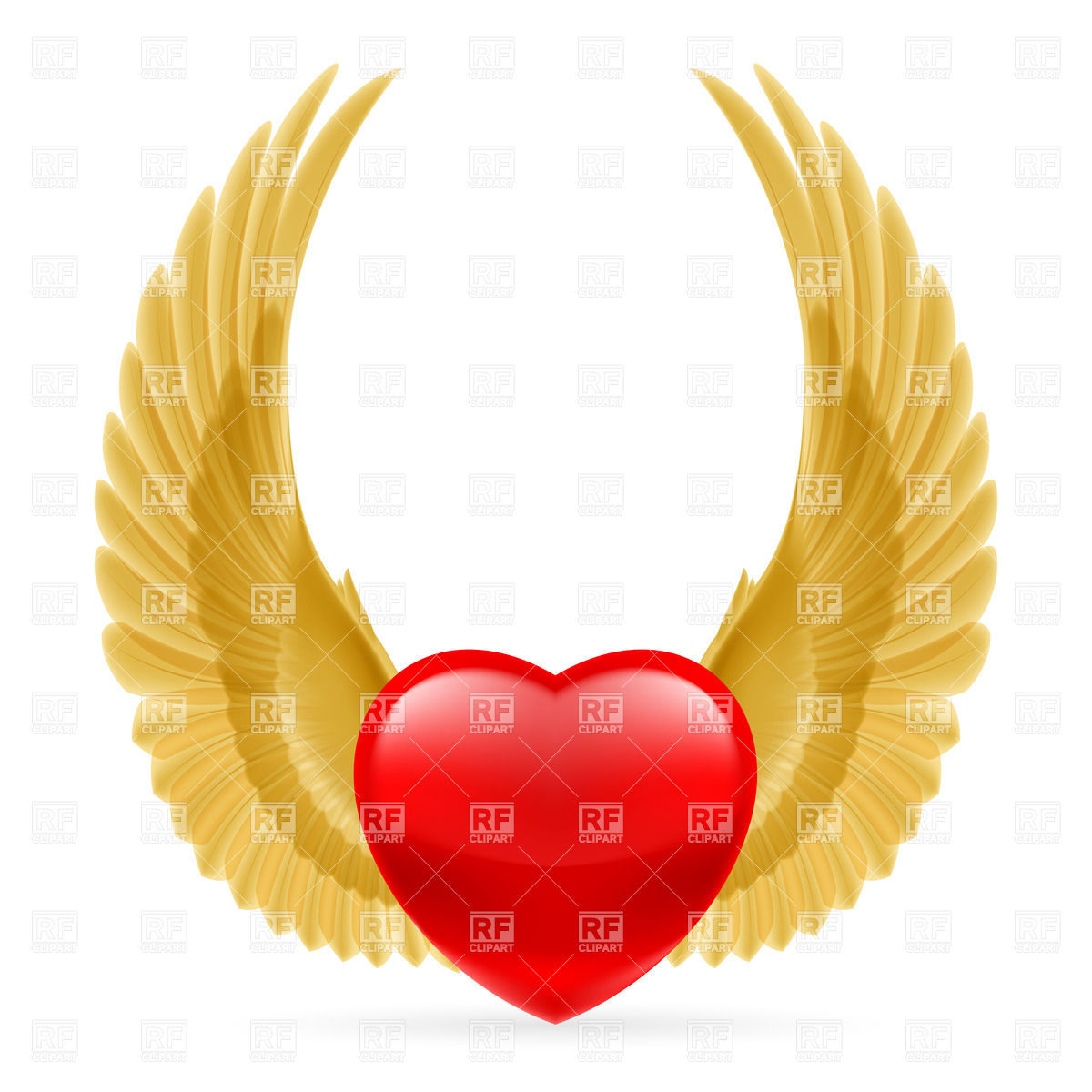 1200x1200 Red Heart With Golden Wings Vector Image Vector Artwork Of Icons