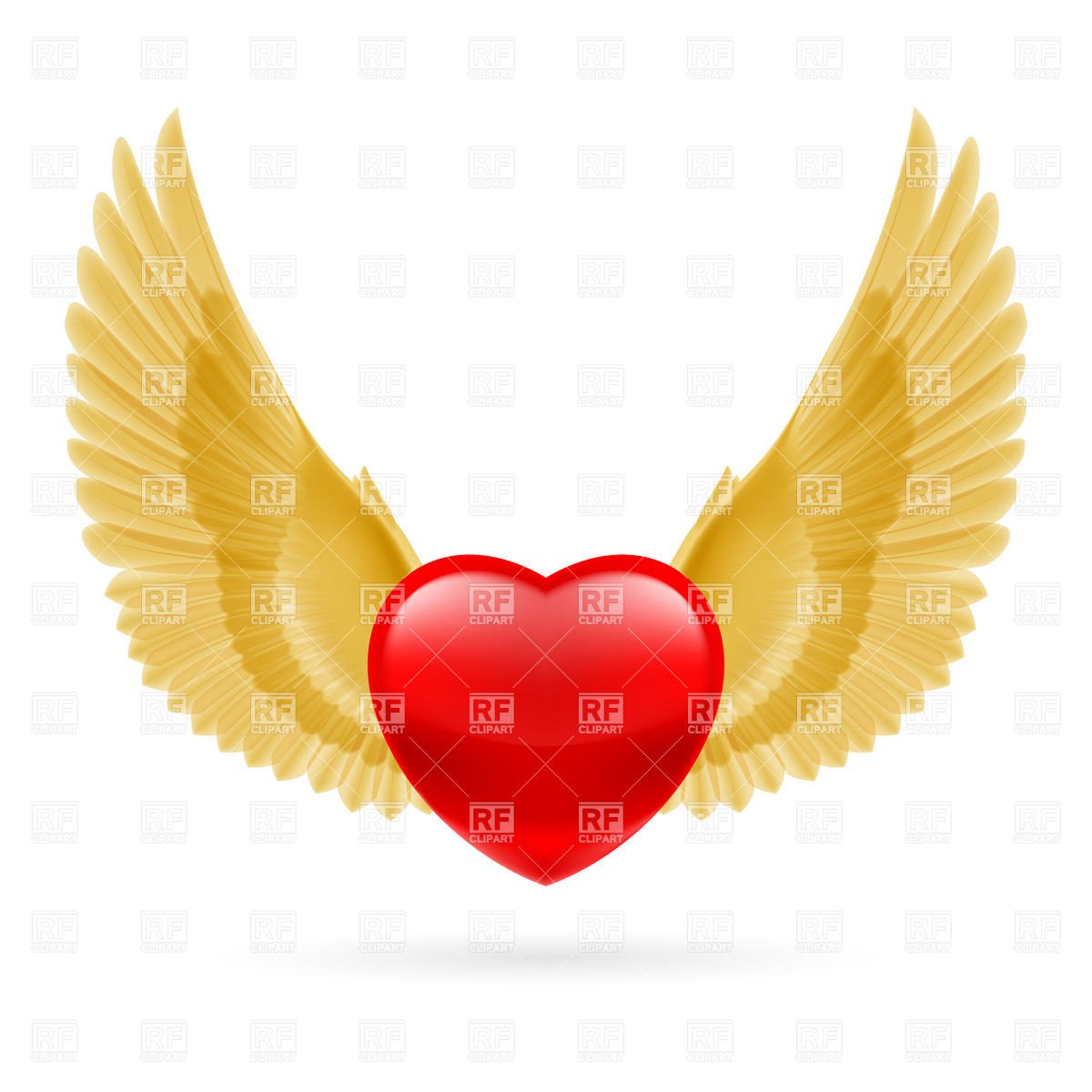 1200x1200 Red Heart With Raised Golden Wings Vector Image Vector Artwork