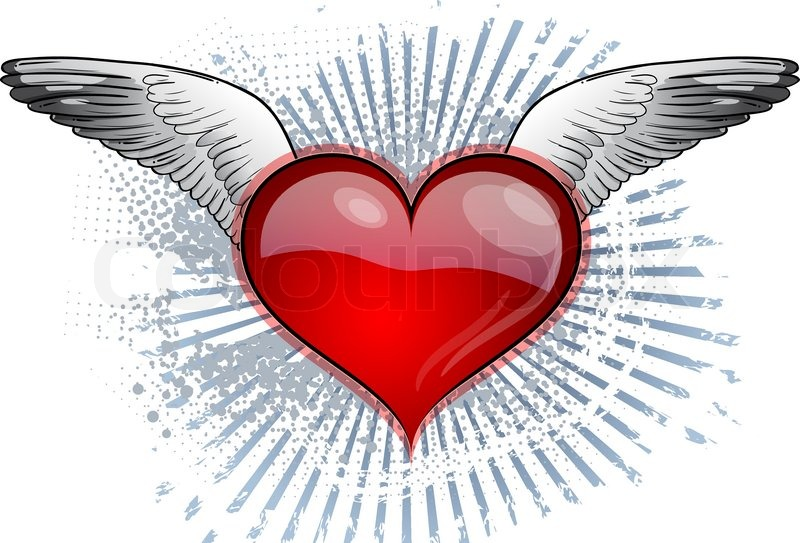 800x543 Red Heart With The Wings Stock Vector Colourbox