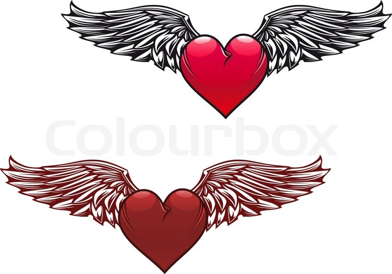 800x560 Retro Heart With Wings For Tattoo Design Stock Vector Colourbox