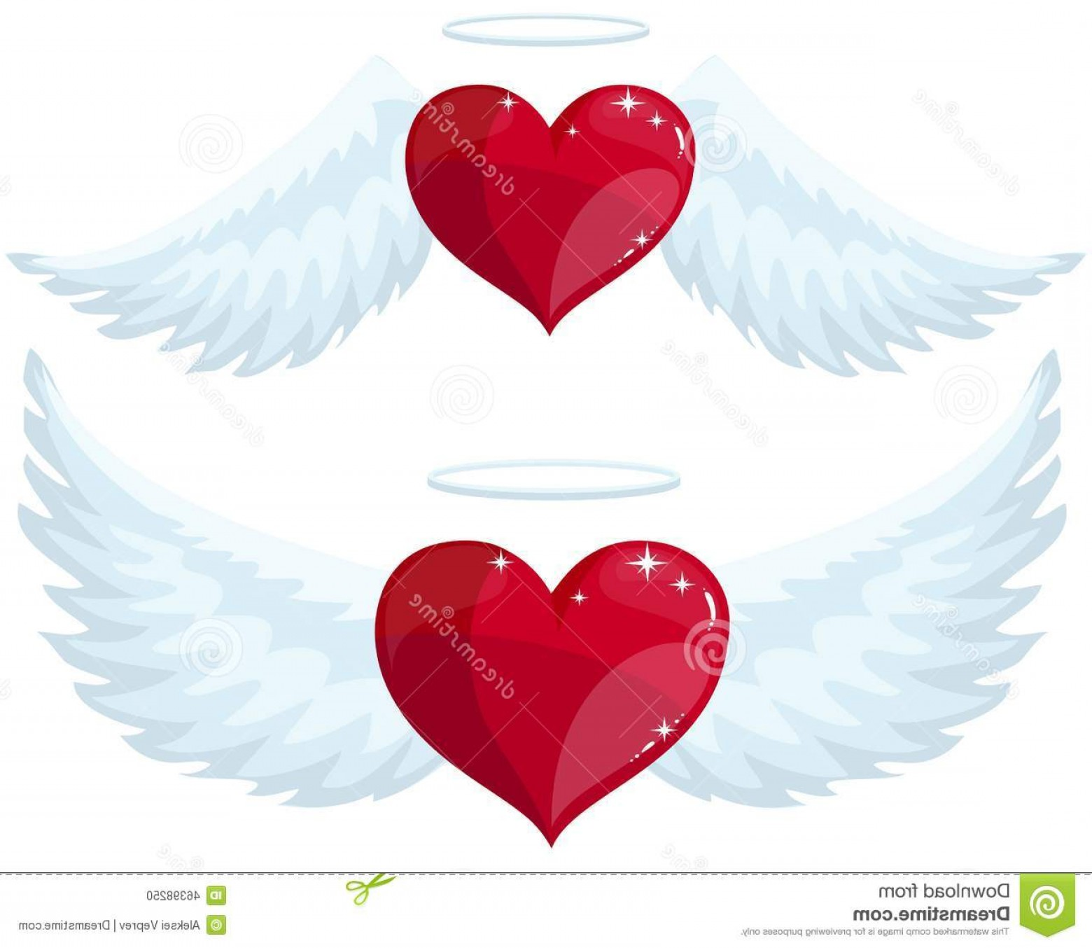 1560x1354 Stock Illustration Angel Heart Wings Halo Collection Vector