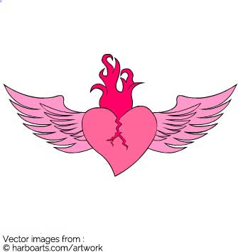 335x355 Download Flaming Heart With Wings