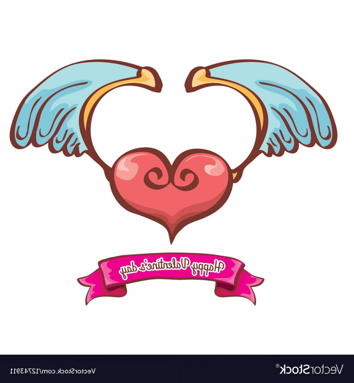 1200x1296 Valentines Day Pink Heart With Angel Wings Vector Lazttweet