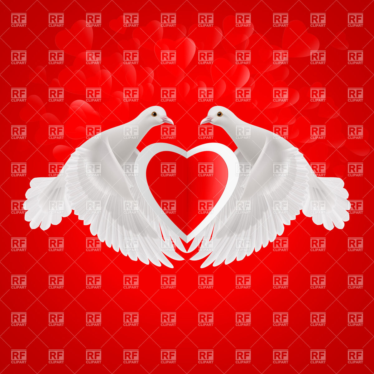 1200x1200 White Doves Holds Paper Heart In Wings Vector Image Vector