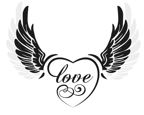 500x400 Love Wings With Heart Vector Material 01 Free Download