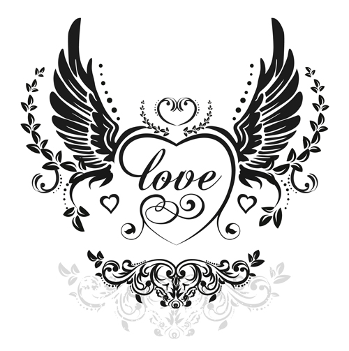 500x503 Love Wings With Heart Vector Material 02 Free Download