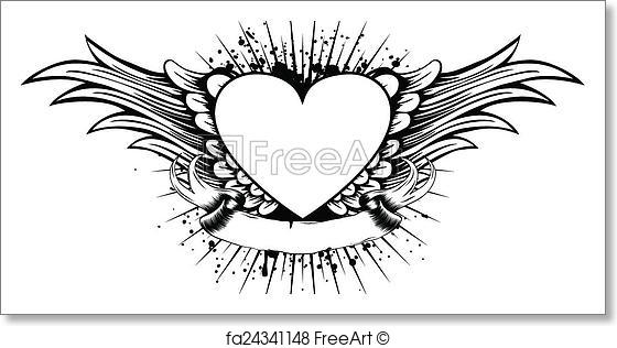 560x316 Free Art Print Of Heart Wings. Abstract Vector Illustration Frame