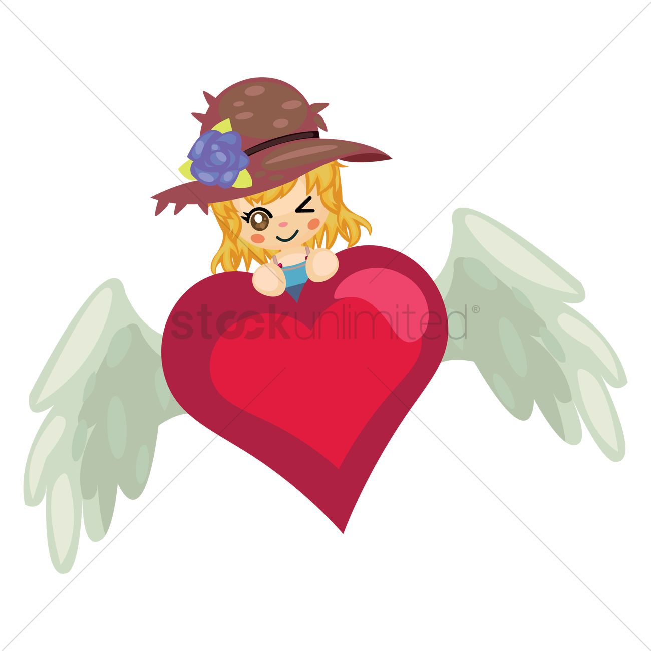 1300x1300 Girl With Heart And Wings Vector Image