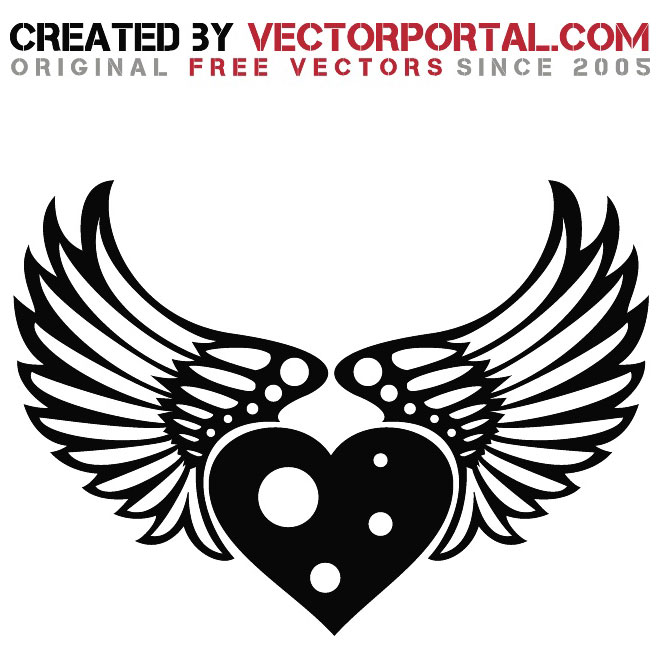 660x660 Heart And Wings Stock Graphics