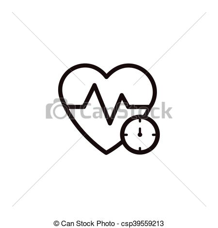 450x470 Heartbeat Thin Line Icon. Heartbeat And Cardiogram Thin Line