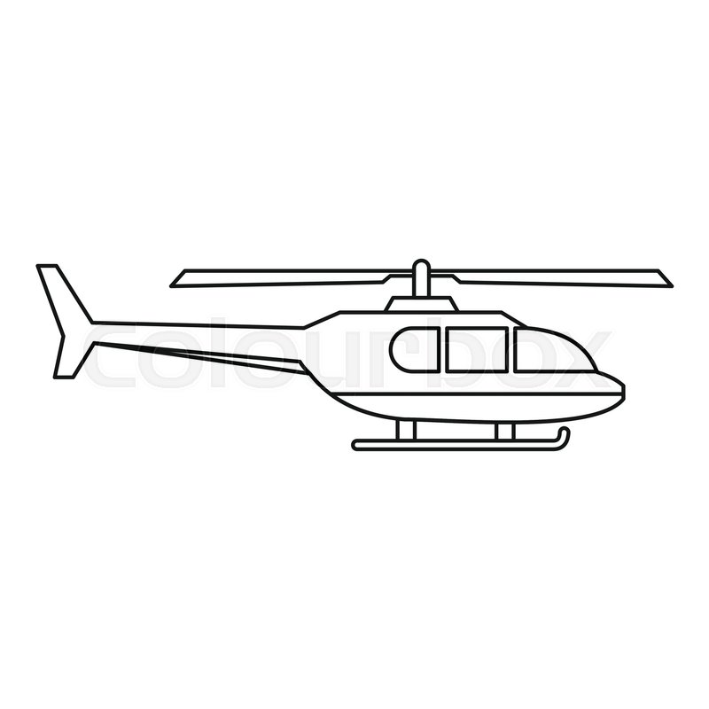 800x800 Military Helicopter Icon. Outline Illustration Of Helicopter