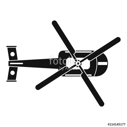 500x500 Top View Helicopter Icon. Simple Illustration Of Top View