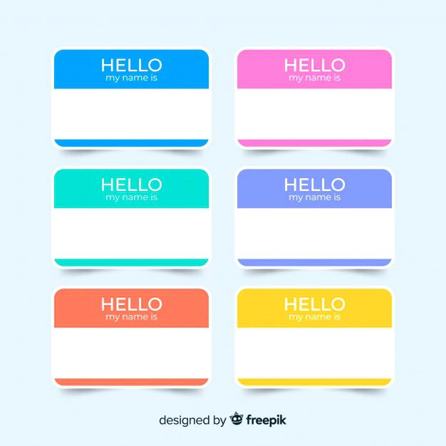 626x626 Colorful Name Tag Template Collection Vector Free Download Gift