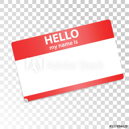 500x500 Hello, My Name Is. Red White Sticker On Transparent Background