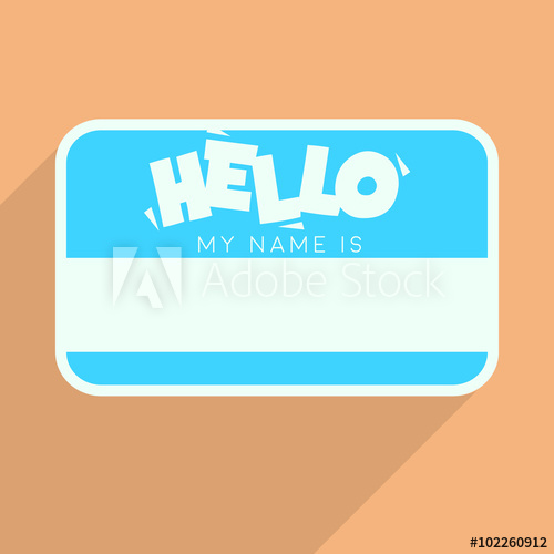 500x500 Personal Card With Text Hello My Name Is. Flat Vector Template
