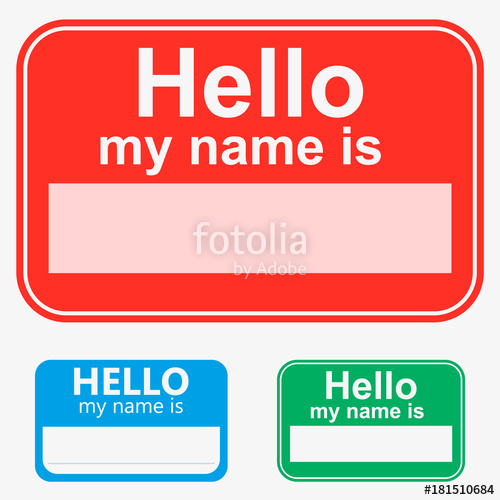 500x500 Red, Green, Blue, Vector Set Hello My Name Is Label Sticker