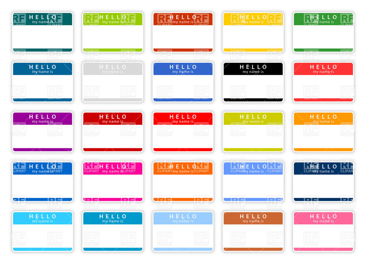1200x867 Set Of Color Blank Name Tags Vector Image Vector Artwork Of