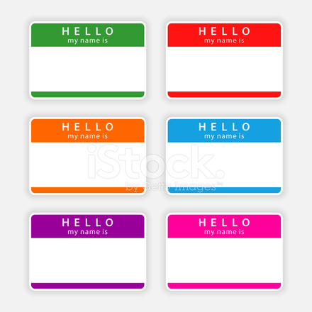 440x440 Color Blank Nametag Hello My Name Is Sticker Tag Label Stock