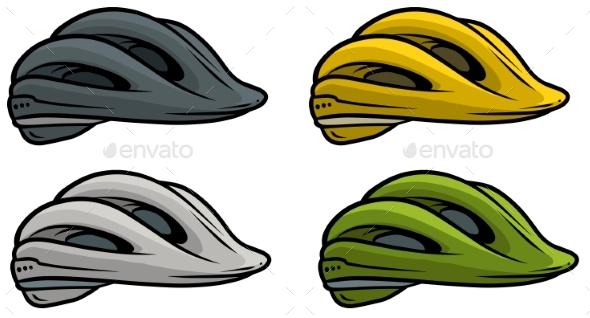 590x318 Cartoon Plastic Bicycle Helmet Vector Icon Set By Gb Art
